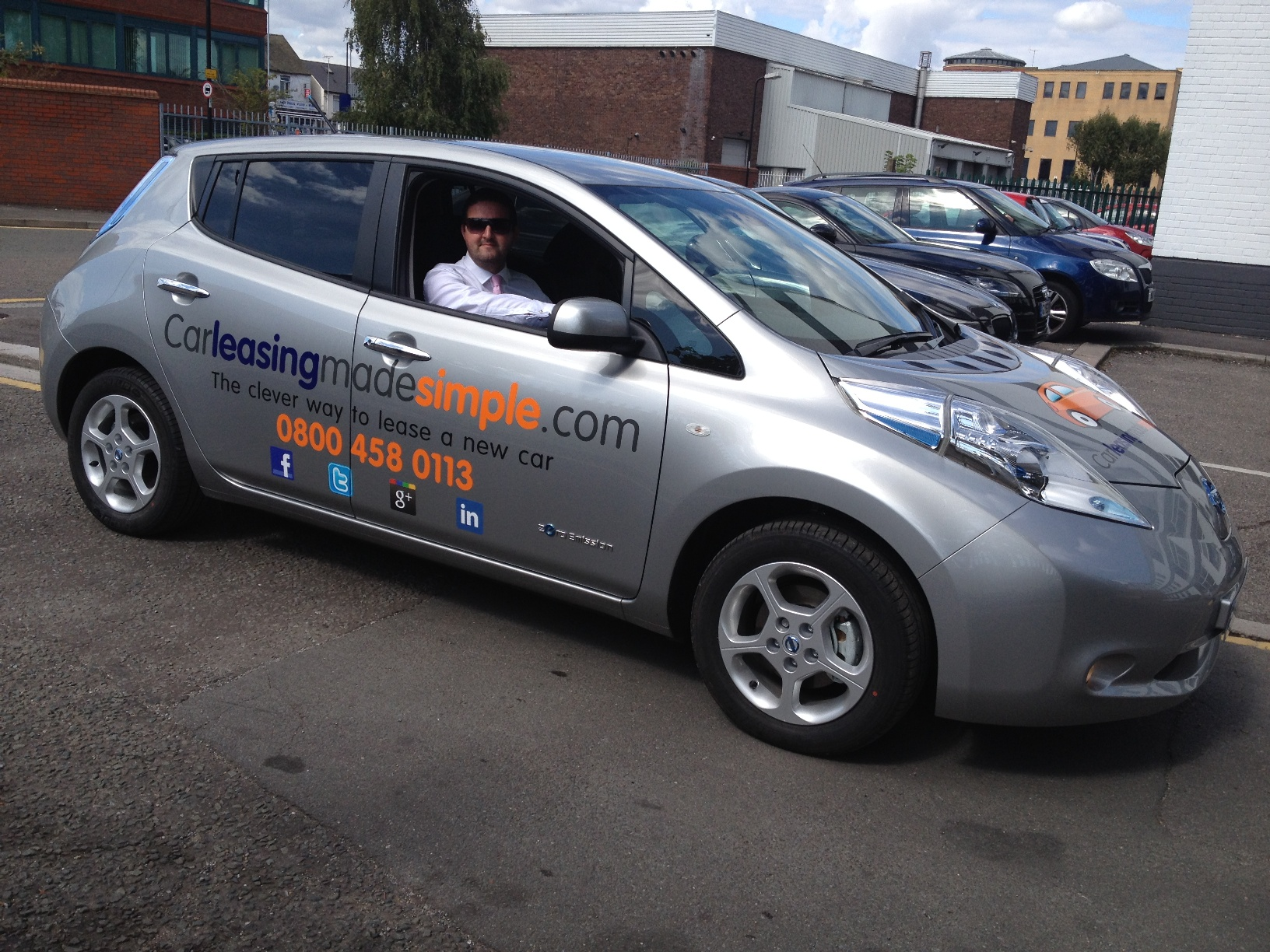 Nissan Leaf - Car Leasing Made Simple Comapny Branding Car